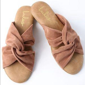🔺 SOLD 🔺Camel Suede Cross Strap Slide Sandal
